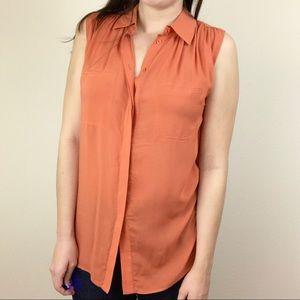 VINCE Orange Sleeveless Button Down Blouse